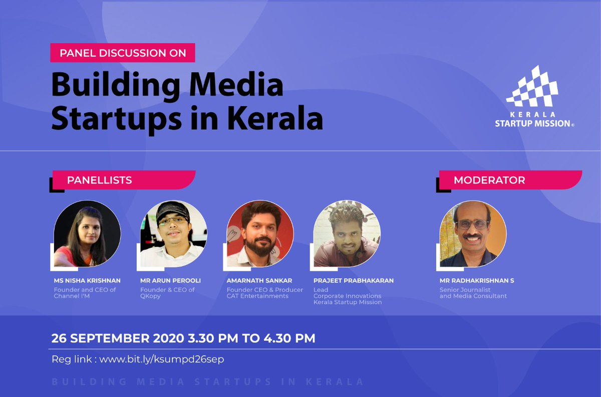 'Building Media Startups in Kerala' will be the key theme of the panel discussion organised by #KSUM on 26 September 2020 at 03:30 PM. Reg link: https://t.co/mwtOfyaR2S #Kerala #Startup #Startups #India #Covid19 #StartupsOwnCountry #Innovation #Media #Digital #MediaStartups https://t.co/kVbBHxS1UR