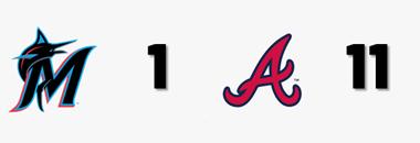 #MLB FINAL  @Marlins 1 @Braves 11  W: B. Wilson (1-0) L: J. Ureña (0-3) HR: ATL - F. Freeman (12), M. Ozuna 2 (17), O. Albies (6), D. Swanson (8) MIA - S. Marte (6)  #JuntosMiami #ForTheA https://t.co/pqteTenF0v
