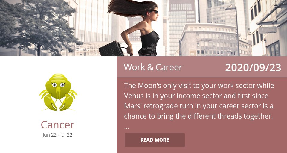Work & Career Horoscope for Sep 23, 2020 => Read the rest at: https://t.co/ccetMfAsxl How did we do? #Cancer #CancerCareer #CancerAstrology https://t.co/e1dADf5lk9