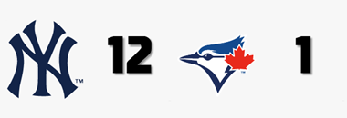 #MLB FINAL  @Yankees 12 @BlueJays 1  W: G. Cole (7-3) L: T. Roark (2-3) HR: TOR - C. Biggio (7)  #NYYforNY #BlueJays https://t.co/XrrztBGDJf