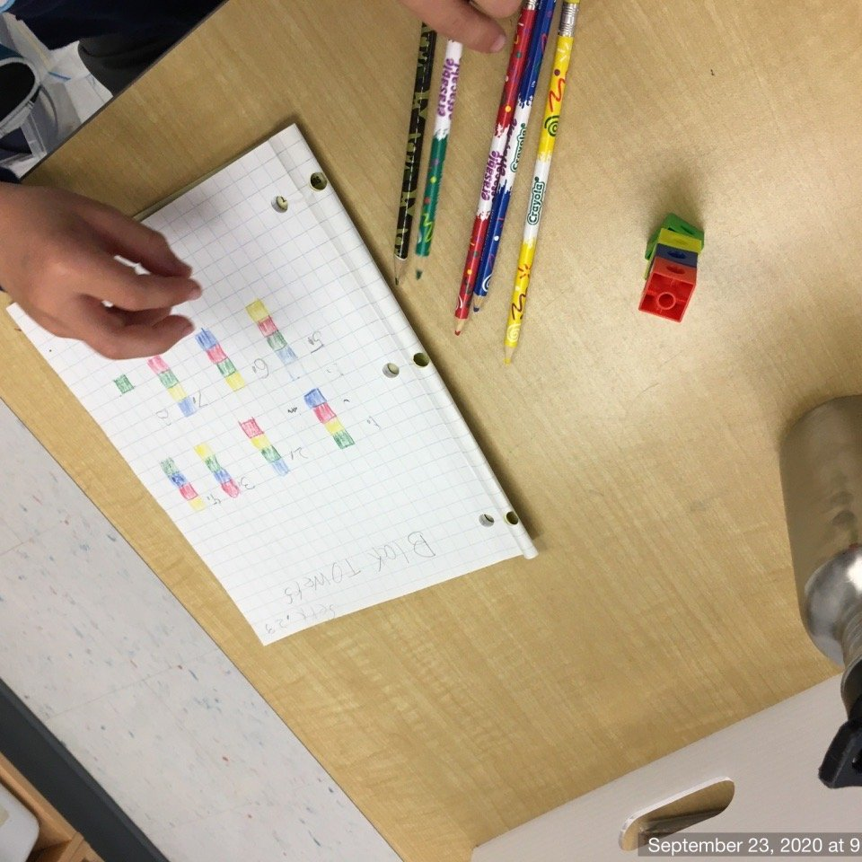 """Overheard in math class today, as we explored @nrichmaths Block Tower combinations problem. """"I am really persevering,"""" and """"My neurons are really connecting."""" Love the new SEL math curriculum! #iteachmath @KanataHighlands @MmeRodney https://t.co/J91RngAYAU"""