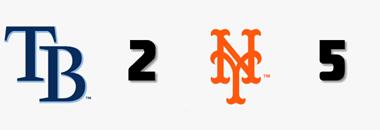 #MLB FINAL  @RaysBaseball 2 @Mets 5  W: S. Lugo (3-3) L: B. Snell (4-2) S: E. Díaz (5) HR: NYM - R. Canó (10), G. Heredia (1), P. Alonso (13) TB - W. Adames (8)  #RaysUp #LGM https://t.co/h1QatxWZo4