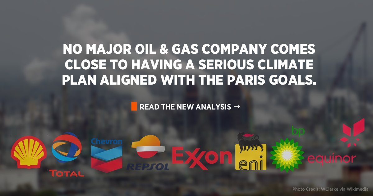 A new @PriceofOil report, endorsed by us, shows just why the oil & gas 🛢️ industry cannot be trusted to take #ClimateBreakdown seriously.  Of the companies assessed, ZERO even come close to having a plan aligned to the Paris Climate Goals. https://t.co/iNRKbtfScs #BigOilReality https://t.co/8bx5C3IwPi