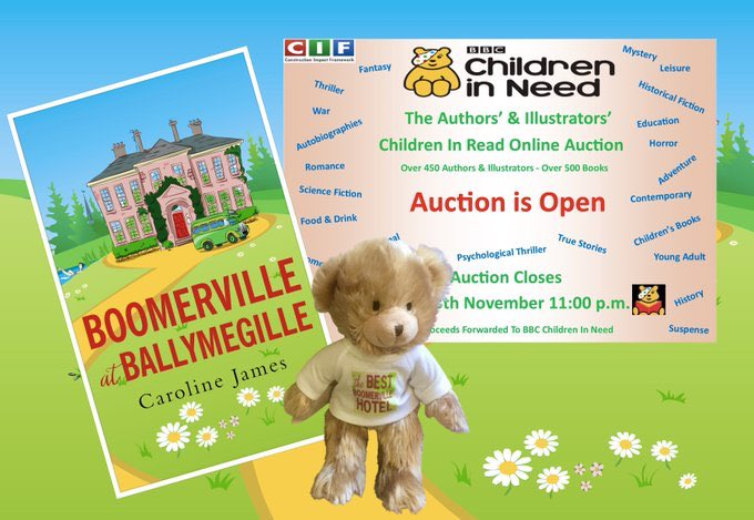 #BoomervilleatBallymegille which is raising money for #ChildrenInNeed The winner gets a gorgeous #Bertie #Bear too & a signed copy hot off the press!  To bid: https://t.co/0HG7Fn94VE……… #ChildrenInRead  @BBCiN #Pudsey Thank you x https://t.co/hxXQDyz48s