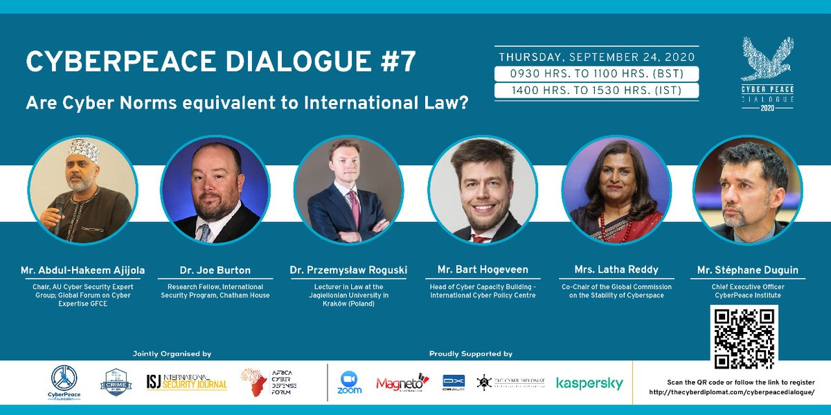 📺#CyberPeaceDialogue 7   Are Cyber Norms equivalent to International Law? Register ▶️ https://t.co/yTSPdZmKhE  ⏱️Time: 2:00 PM - 3:30 PM IST   #CyberPeace #CyberNorms #cybersecurity #cyberethics #UN75 https://t.co/vAkxoOMUVY
