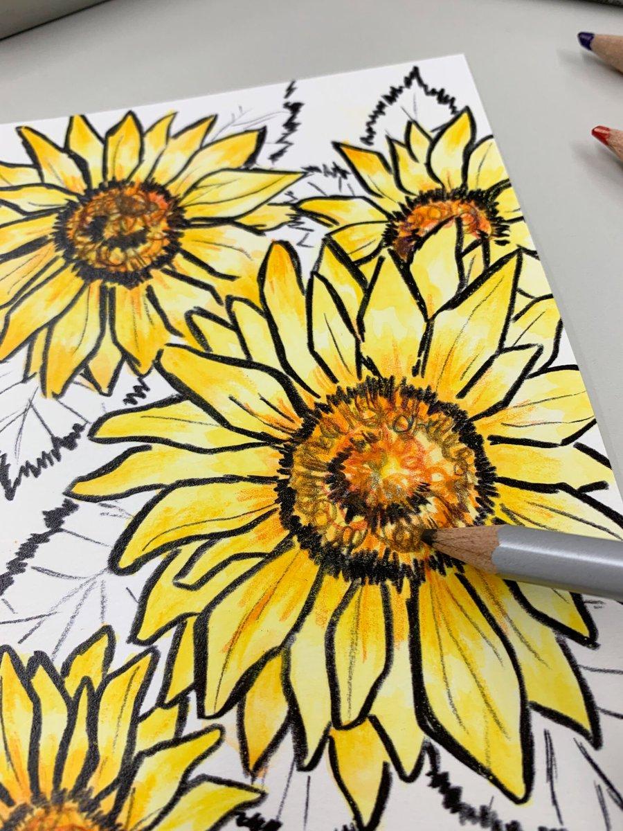花びらは水をたっぷり使って、水彩っぽい感じにしたよ。花の中心はグルグル~って円を描くように色鉛筆を動かすのがポイント!