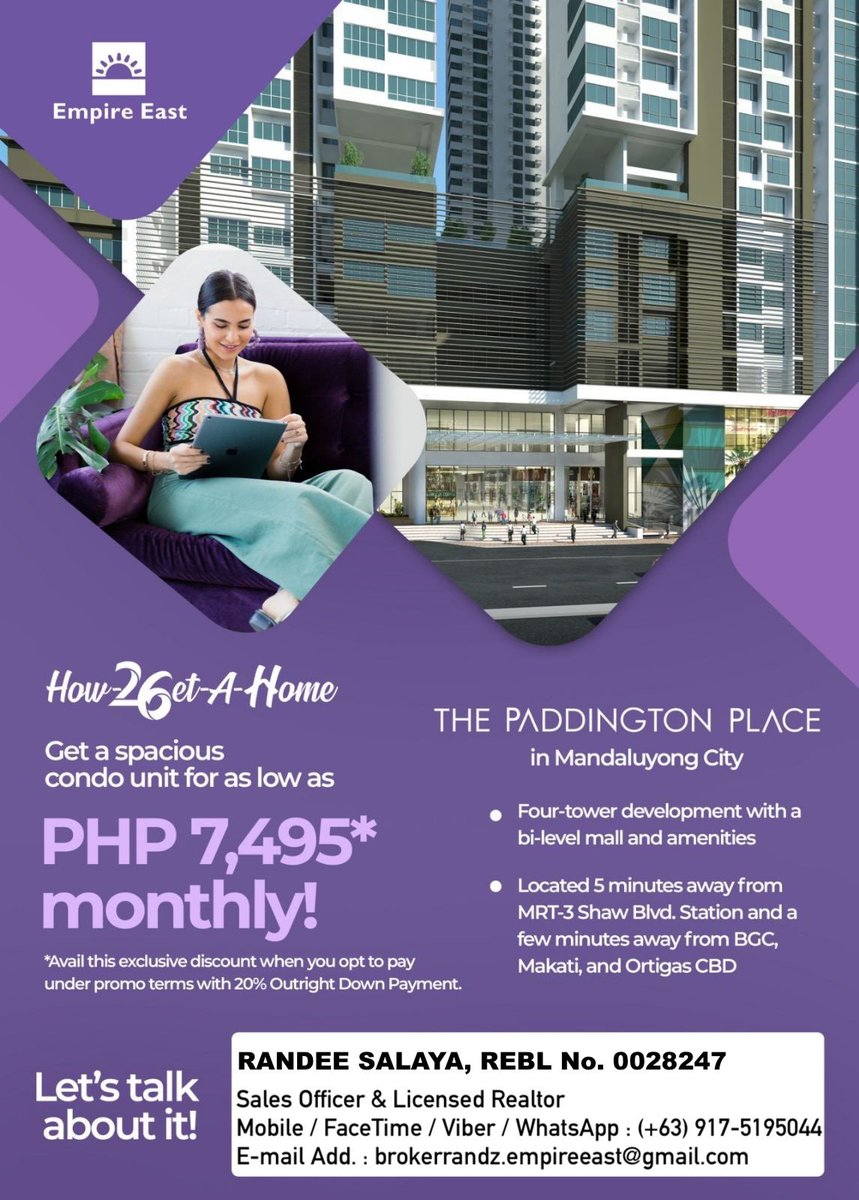 Start investing in a condo unit now for as low as PHP 7,495 / month and offers 0% INTEREST PAYMENT PLAN in 52 months.  #WackWack #Ortigas #OrtigasCBD #Mandaluyong #ShawBlvd #EDSA #Condo #RealEstate #CondoLivingPH #CondoLifestyle #CondoLife #ThePaddingtonPlace https://t.co/wwcqJigW9t