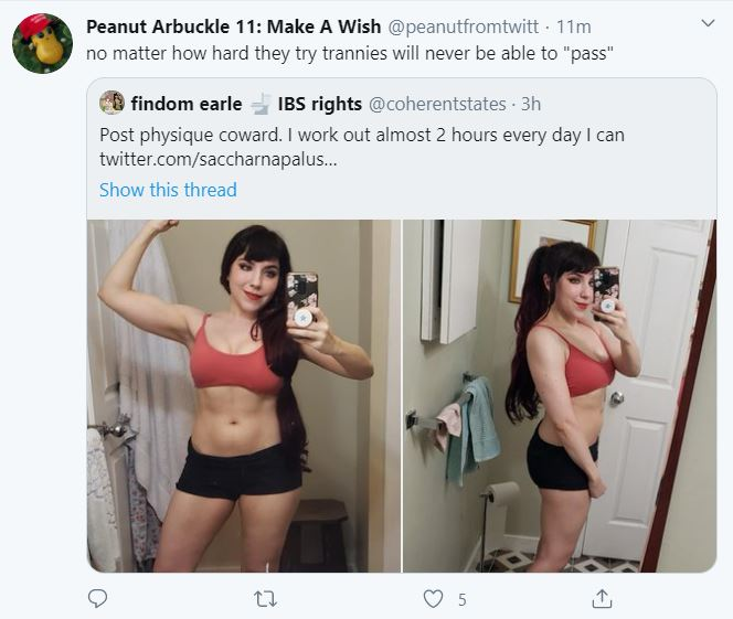 Guys named BasedLoliFeet🇻🇦 hurling transphobic insults at me because Im a woman with a bit of muscle definition is a perfect example of how transmisogyny is just misogyny. Im a 410 cis woman, were all shamed by the same standards. The TERF worldview takes another L.