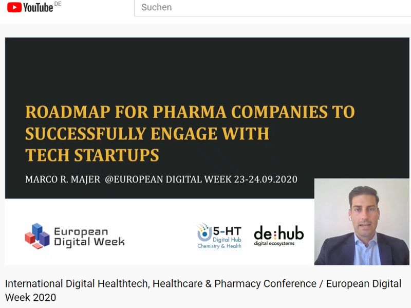 Marco R. Majer virtually live on stage at the International Digital Healthtech, Healthcare & Pharmacy Conference as part of the European Digital Week and shares his insights how pharma companies should engage with tech startups to boost digital innovation acitivities! https://t.co/hSZYeWN1sC