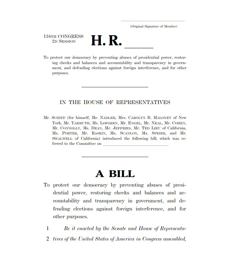 Today, we are introducing the Protecting Our Democracy Act, landmark reforms to: 🛑Stop presidential abuses. ⚖️Restore our system of checks and balances, and strengthen accountability and transparency. 🗳️Protect our elections. We are #ProtectingOurDemocracy. For the People.