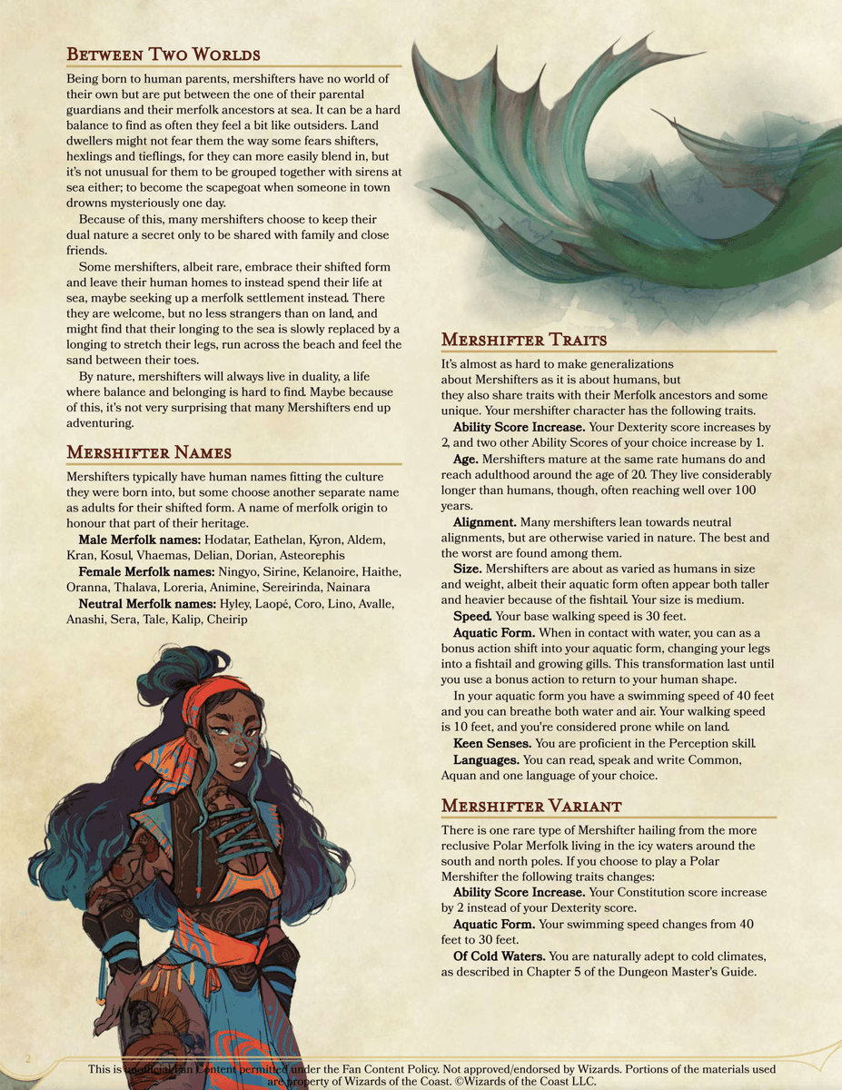 Taima Is Tired On Twitter Mershifters They Live Between Two Worlds Land And The Sea As Humans With The Ability To Grow Fishtails Fins And Gills A 5e Homebrew Race I Designed