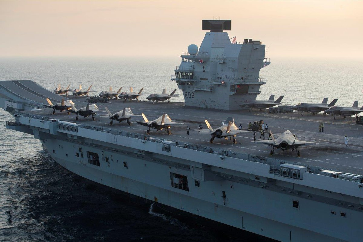 ⚡ Aircraft carrier @HMSQNLZ has embarked the largest number of warplanes ever onto her deck as she prepares to take her place at the heart of a UK-led NATO Carrier Strike Group. 🇬🇧🇺🇸 Find out more: ow.ly/h8oh50ByWdh