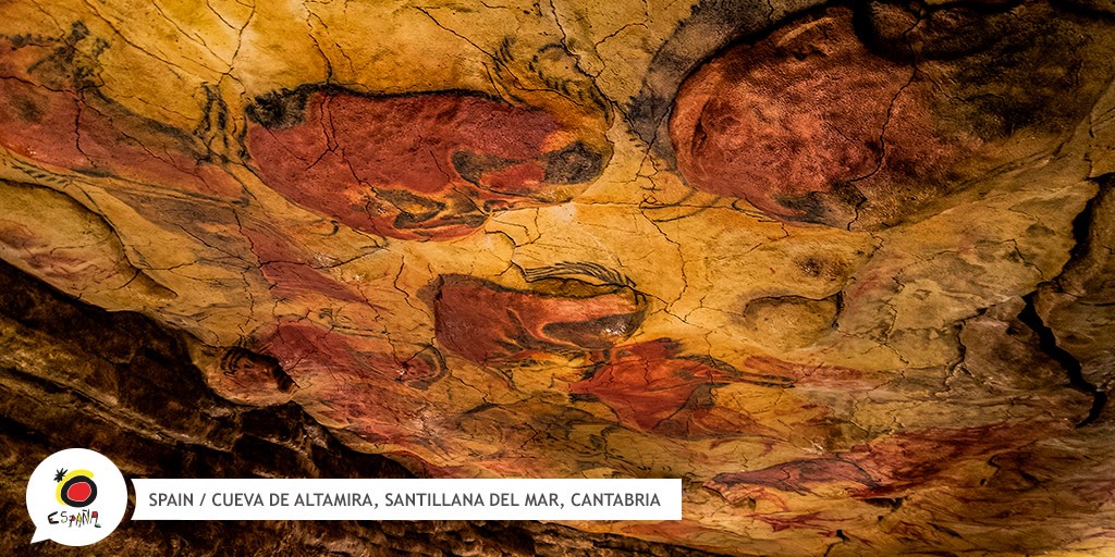 Did you know that the paintings in the incredible #AltamiraCave 🐂 can be dated back 14,000 years and the site is a @UNESCO world heritage site? 😍  👉 https://t.co/rPcBGYd7ye  #BackToSpain https://t.co/RDy2qprpGh