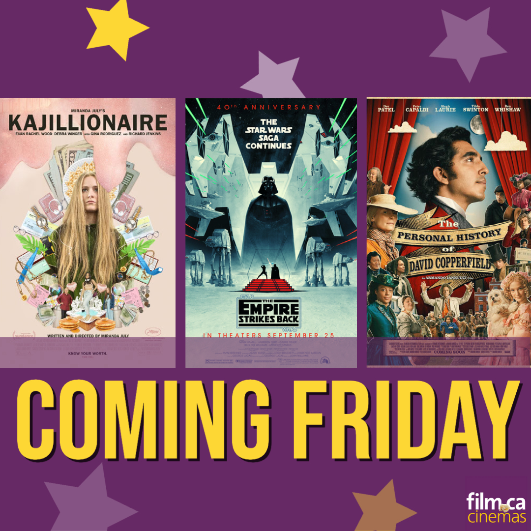SOMETHING FOR EVERYONE ✨  Coming this Friday, Sept 25th! 🗓   Buy tickets: https://t.co/1SM9OWkBKK 🎟  COVID-19 procedures : https://t.co/qFX96q1qf1 🏠    #Kajillionaire #thempirestrikesback #thepersonalhistoryofdavidcopperfield https://t.co/sX82kTtRmh