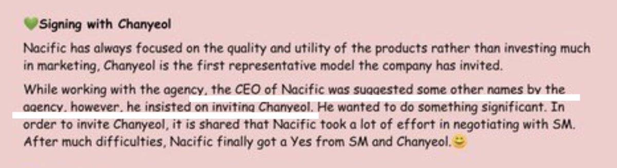แต่ถ้าอ่านตามนิ้ก็บอกว่า เอเจนซี่เสนอคนอื่นให้ CEO นะ แต่ CEO ก็ยังอยากจะเลือกชานยอลอยู่ดี แล้วก็บอกว่าต้องพยายามอย่างมากในการพูดคุยติดต่อกับ SM   แต่ไม่ได้บอกนะว่า SM เสนอคนอื่นให้ https://t.co/bb4cue79hi