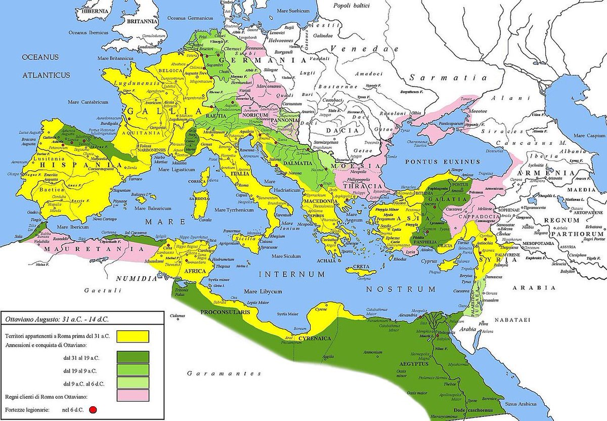 A map of the #RomanEmpire under Augustus before the Varian disaster of 9 AD.   #AncientMaps https://t.co/clwKx3AE6E
