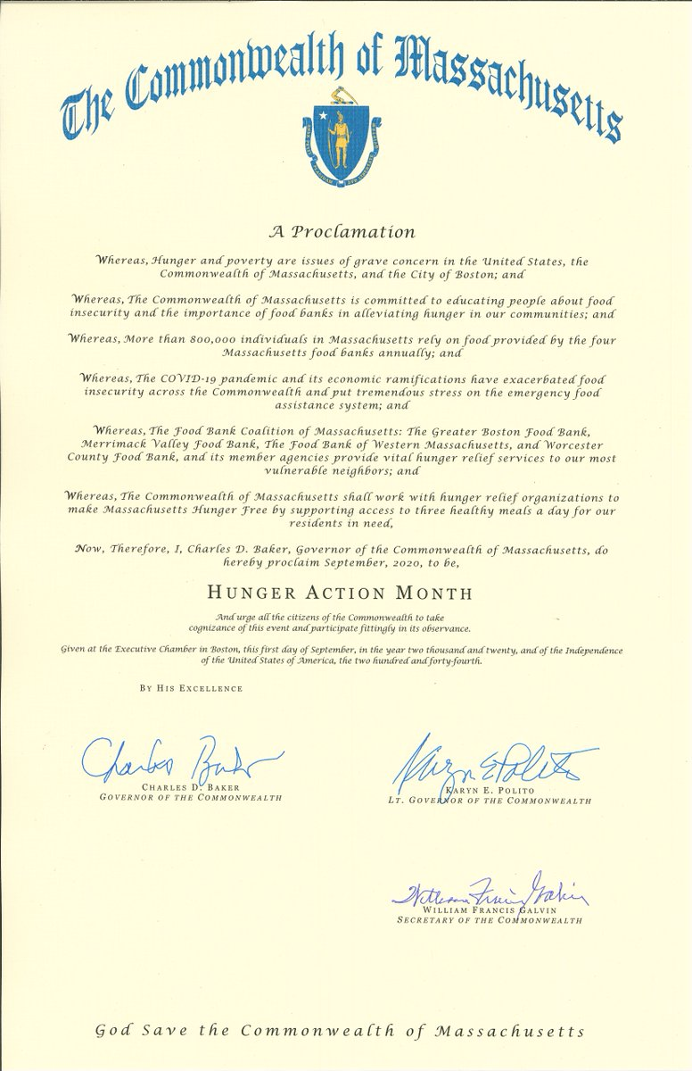 Thank you @MassGovernor for declaring September as #HungerActionMonth in the Commonwealth of Mass. Now more than ever, #foodsecurity is public health. We'll continue our work with the state's Food Security Task Force to ensure everyone has access to nutritious food. https://t.co/2fq0BItUXG