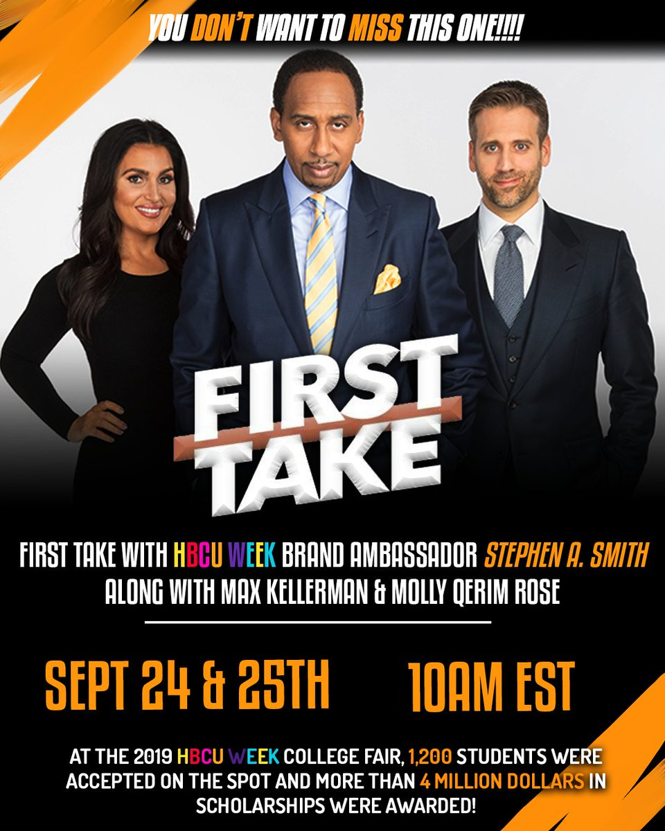 Thursday & Friday, @stephenasmith and @FirstTake welcome special guests Troy Vincent, Chris Paul and more as part of @hbcuweek shows  All leading up to the 2020 #HBCUWeek Virtual College Fair which begins Friday  More: https://t.co/iT1ILVMBSD   https://t.co/P58bXixcpJ https://t.co/zN7LeSA5ja