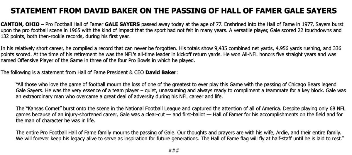 Bears' legend and Hall-of-Fame running back Gale Sayers died Wednesday, the Hall of Fame confirmed. He was 77.