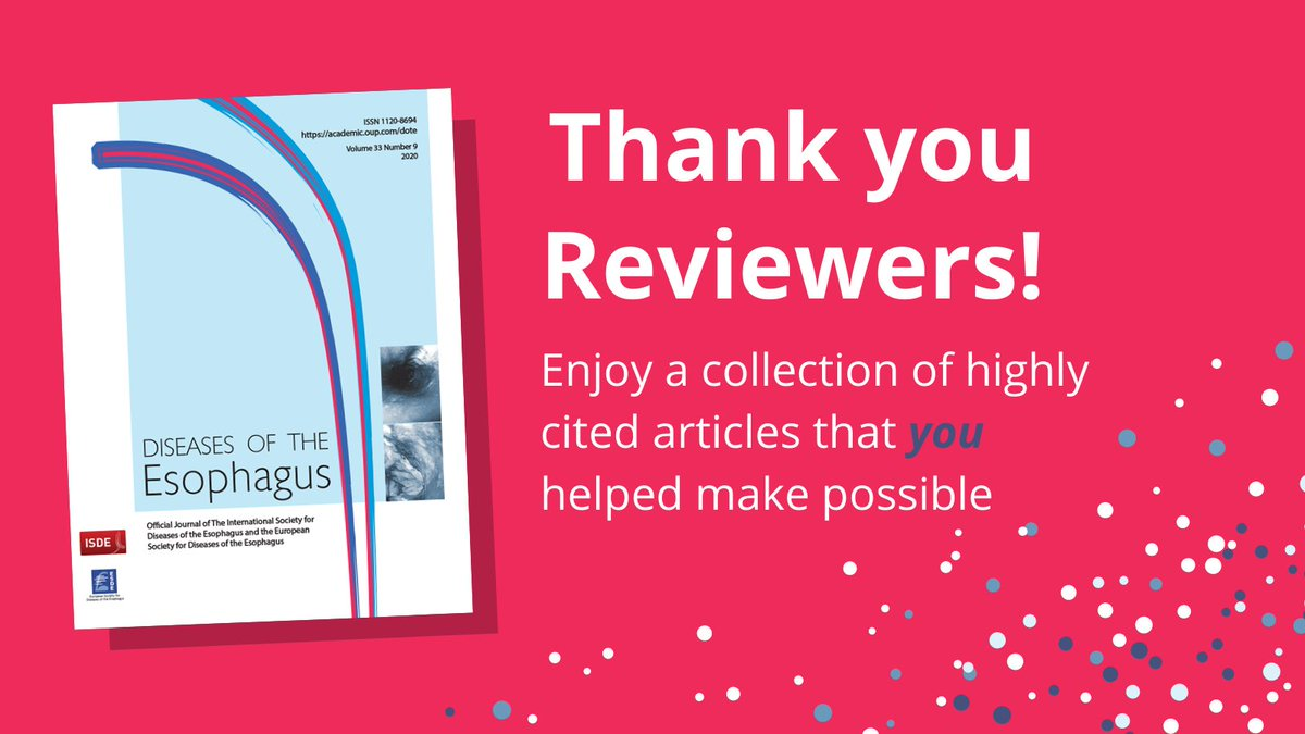 Diseases of the Esophagus is celebrating Peer Review Week 2020! Thank you to all of our reviewers who make such a significant contribution. We couldn't do it without you! #PeerRevWeek https://t.co/qqV5SCLFvM https://t.co/M7wyhTfFzT