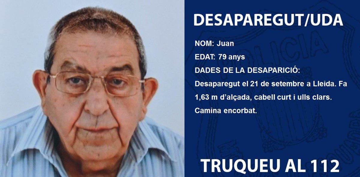 En Juan va desaparèixer a Lleida el 21 de setembre. Ajuda'ns a trobar-lo  Juan desapareció en Lleida el 21 de septiembre. Ayúdanos a encontrarlo https://t.co/kwHrDHV3q9