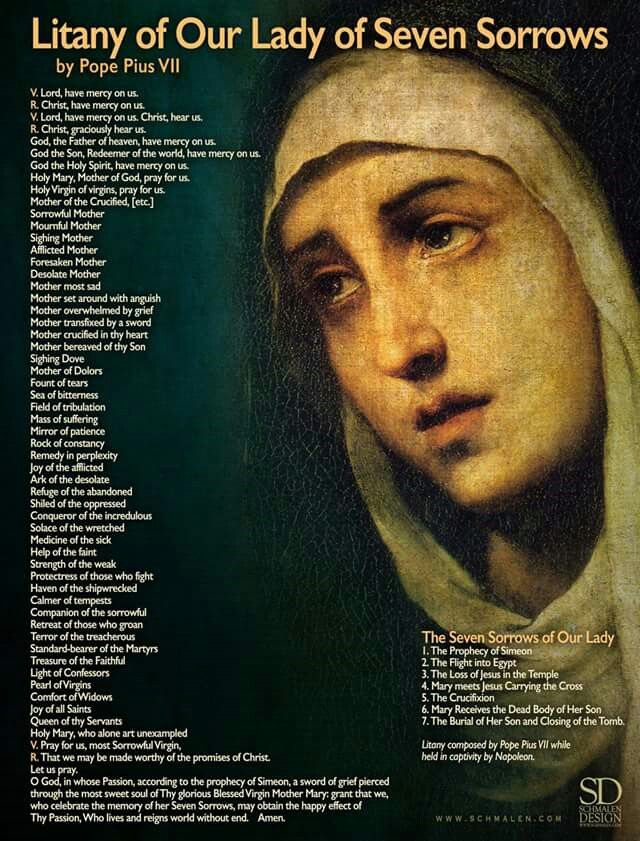 Litany of Our Lady of Sorrows 🙏🙏🙏 https://t.co/gJYPVUTCU9