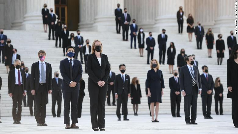 More than 100 of Justice Ginsburg's former clerks meet her casket at the Supreme Court steps https://t.co/uwRWzBSAwj https://t.co/xraaNCPh94