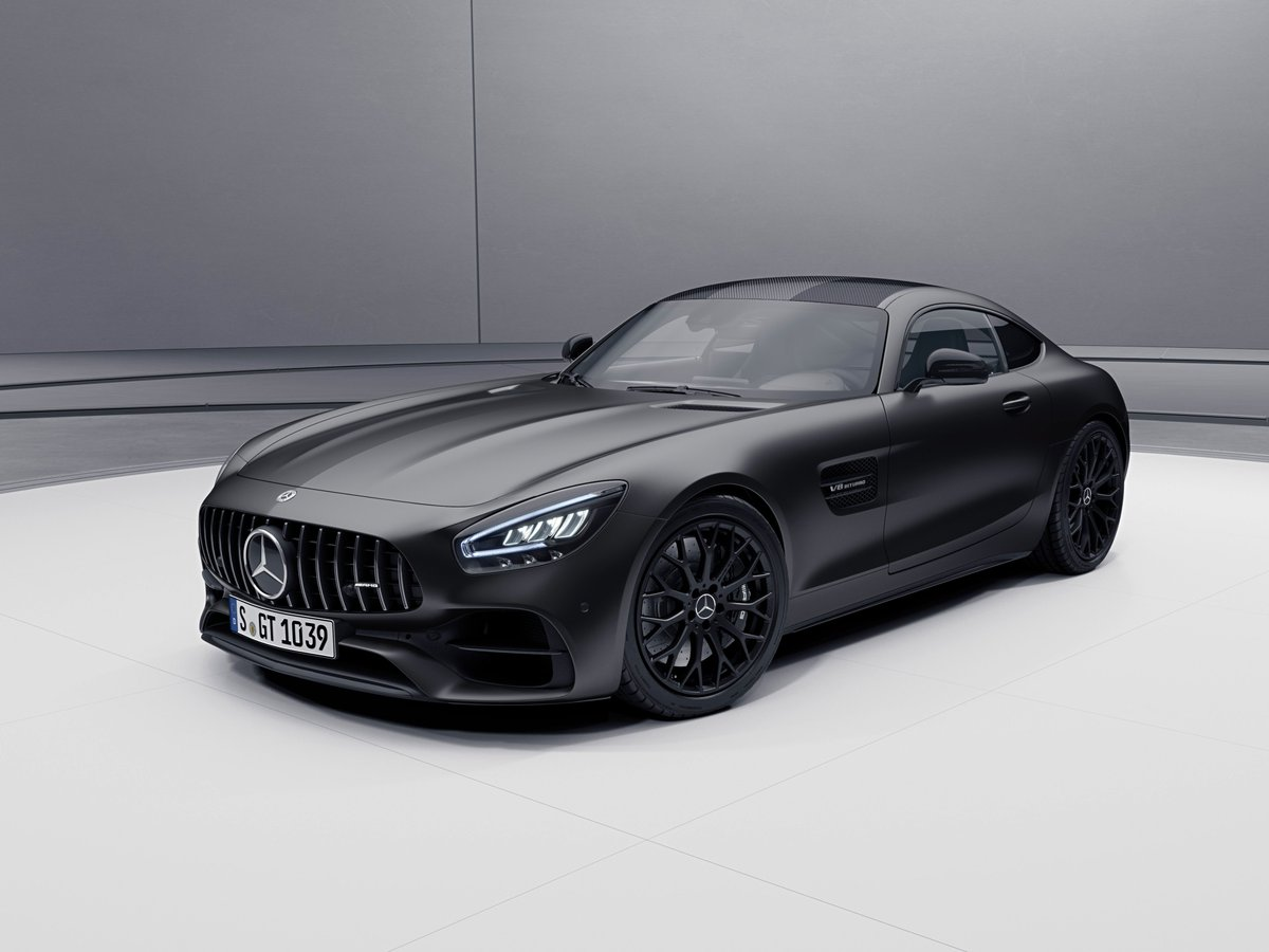 """The new """"Stealth Edition"""" special model is available for the 2021 Mercedes-AMG GT Coupe & Roadster. It includes the AMG Exterior Night Package, the AMG radiator grille in dark chrome, & mixed-sized tires w/ 19-inch matte black Y-spoke wheels on the front & 20-inch wheels on rear"""