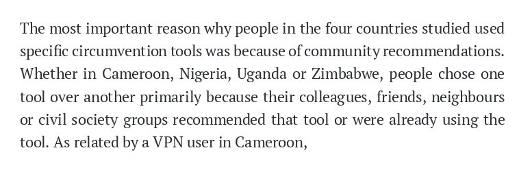 All interviewees used circumvention tools on mobile and desktop devices, although a majority (23) reported mostly using the tools on mobile devices.  Civil society and community recommendation played an important role in mobilizing people to use circumvention tools: https://t.co/71eaUG2z37