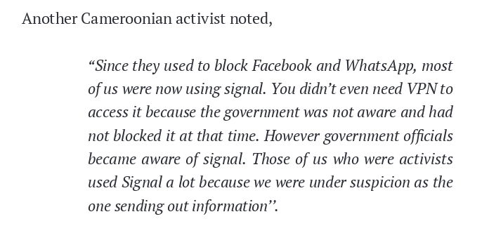 Messaging apps like Signal and Telegram, which were unknown to government censors and were not blocked, served as alternative messaging channels when more popular apps like Facebook and WhatsApp were blocked. https://t.co/K9ZjexNEDz