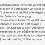 Image for the Tweet beginning: SISTE: Statsministerens kontor opplyser at