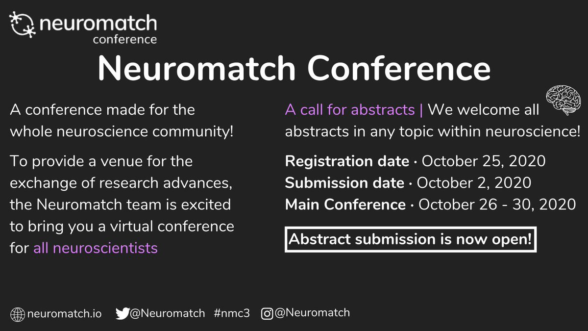 Join us for Neuromatch conference (Oct 26-30). We accept submissions from all areas of neuroscience. Every submission will be accepted as a talk. Our algorithms will facilitate great schedules. Working hard to be the most inclusive conference ever. https://t.co/aR710IVUbA https://t.co/dF792e9Ebp