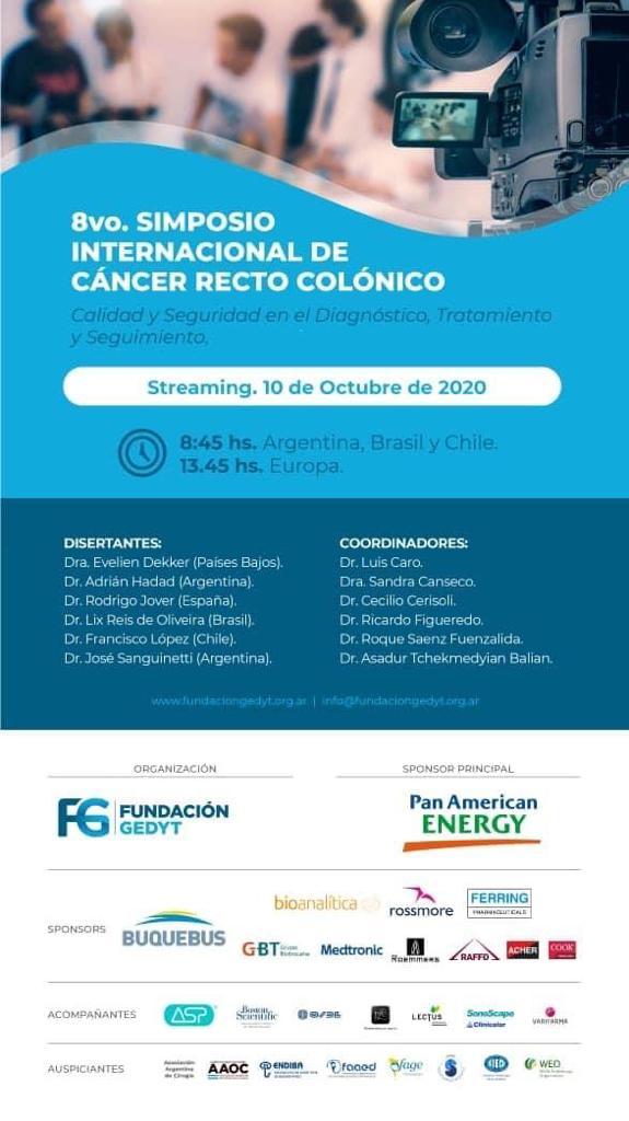 No dejes de participar en el 8vo Simposio Internacional de Cancer Recto Colónico - 10 de Octubre de 2020. Regístrese aquí: https://t.co/8SLjk1IrZy  #Endoscopia #EndoLA #Latinoamerica #CancerRectoColonico #eventos https://t.co/sQ9fYHbsBm