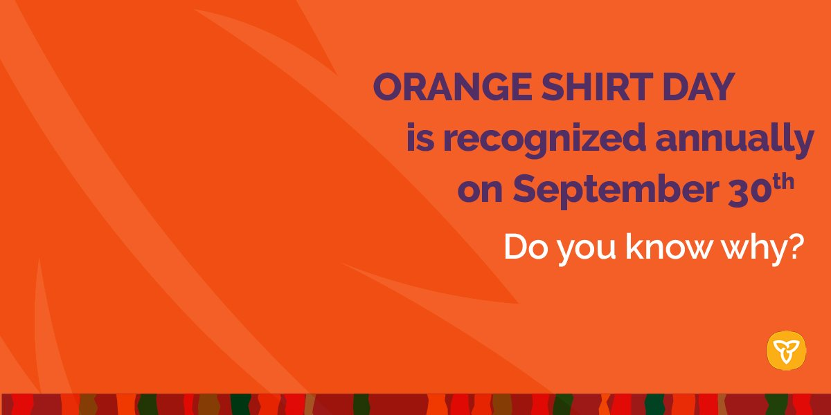 Do you know why #OrangeShirtDay is recognized annually on September 30? The date was chosen because it was the time of year when Indigenous children were taken from their homes and sent to residential schools. Learn more about Orange Shirt Day: https://t.co/RfO5QQiTXa https://t.co/hUnbqC1UUG