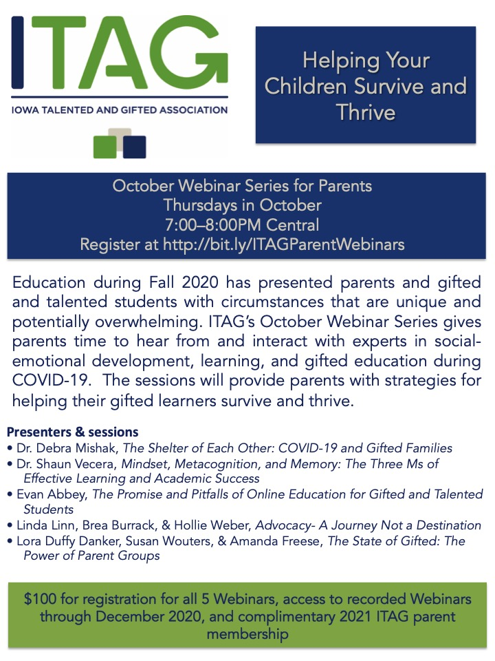 Share this webinar series with parents of gifted learners! Register here: https://t.co/1ayZJlrH8a #iowagifted #giftedparent #parentsupports https://t.co/xrEnQf5STc