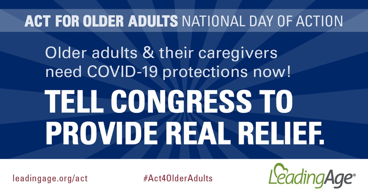 -We are calling on all Americans to contact Congress to #Act4OlderAdults! Learn more about how to get involved and advocate for more #coronavirus protections for older adults and their care providers: https://t.co/ZcBlumjiei https://t.co/IYNTJWjCCc