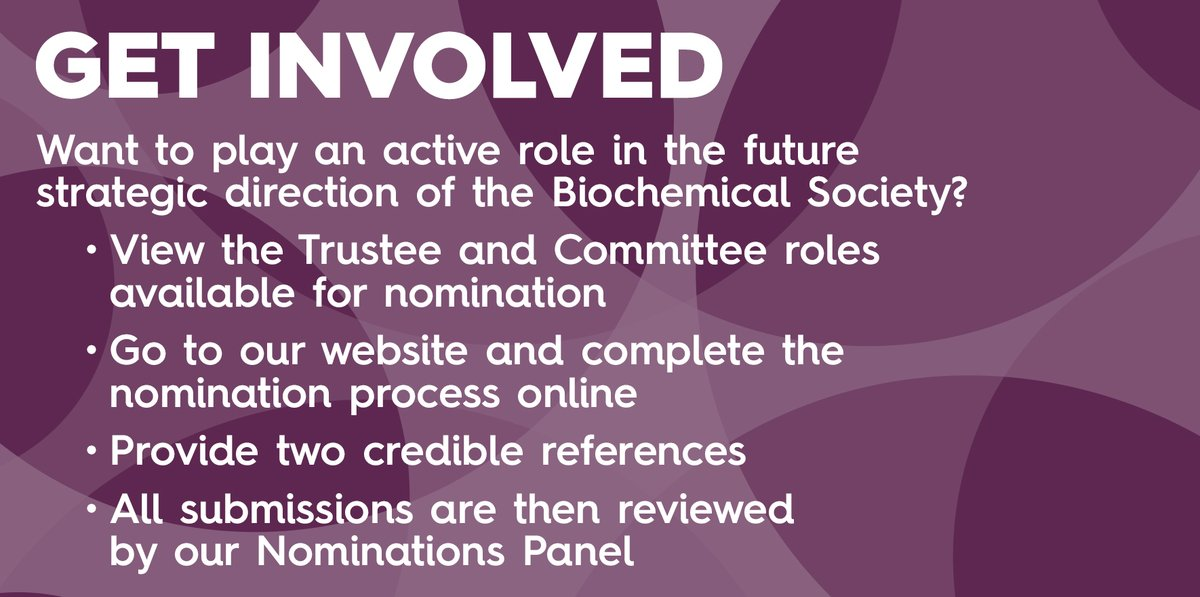 All Biochemical Society members are invited to nominate themselves for one of our Trustee vacancies or a role on one of our committees. This provides valuable experience to support your career and grow your professional network #BiosciencesForAll https://t.co/V5t1sF2J8S https://t.co/ZLlpbI1Lhq