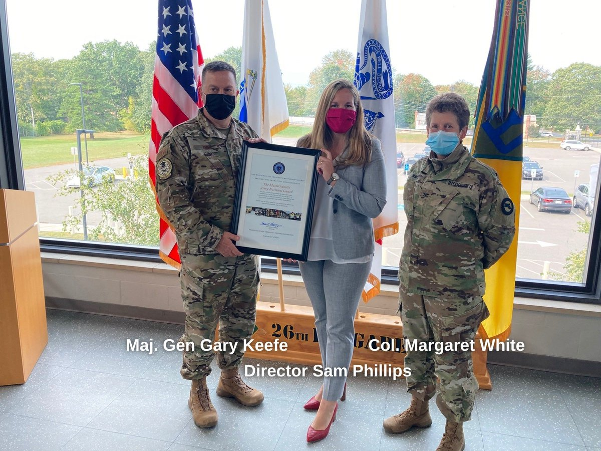 We continue to mark #PreparednessMonth, thanking key #COVID19MA response partners. Yesterday, @MassEMA Director Phillips presented @TheNationsFirst a certificate of appreciation for their tremendous & ongoing efforts to help respond to the pandemic. #EPi… https://t.co/Hwr0Z4XCEQ