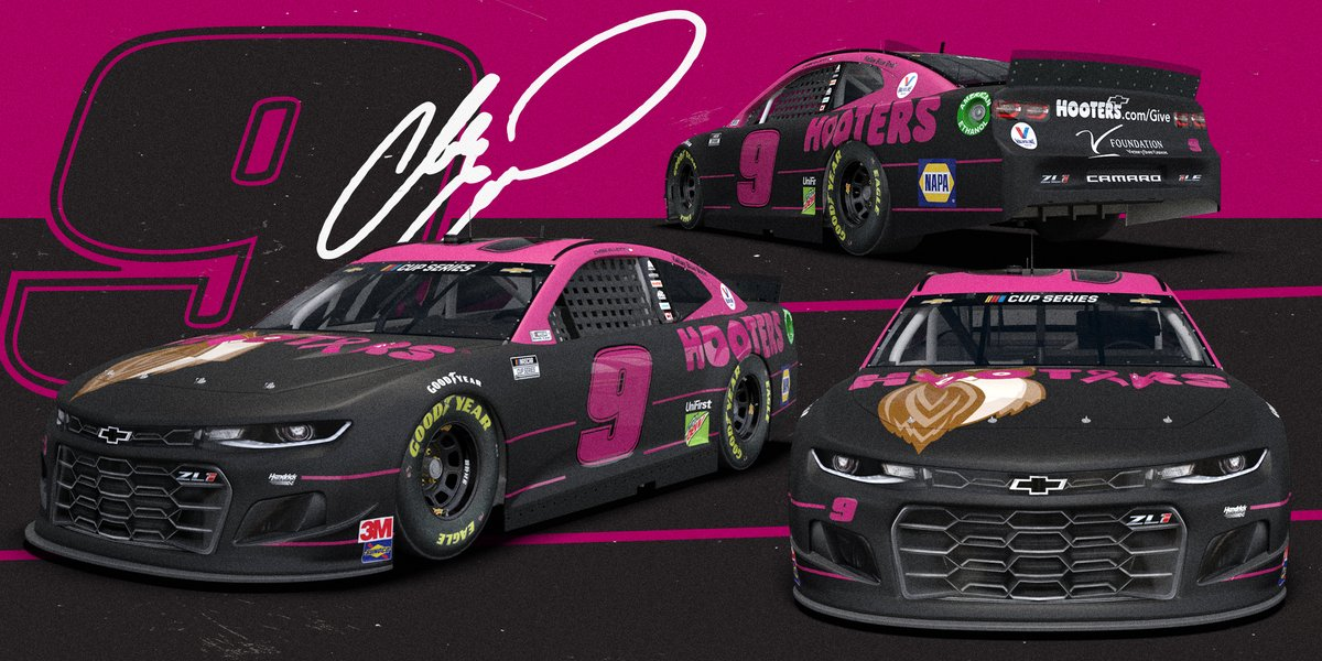 A special scheme for a special cause.  @chaseelliott's No. 9 @TeamHendrick Chevy will have a new look at @TXMotorSpeedway next month to support the fight against breast cancer. https://t.co/GdoOyg1byY