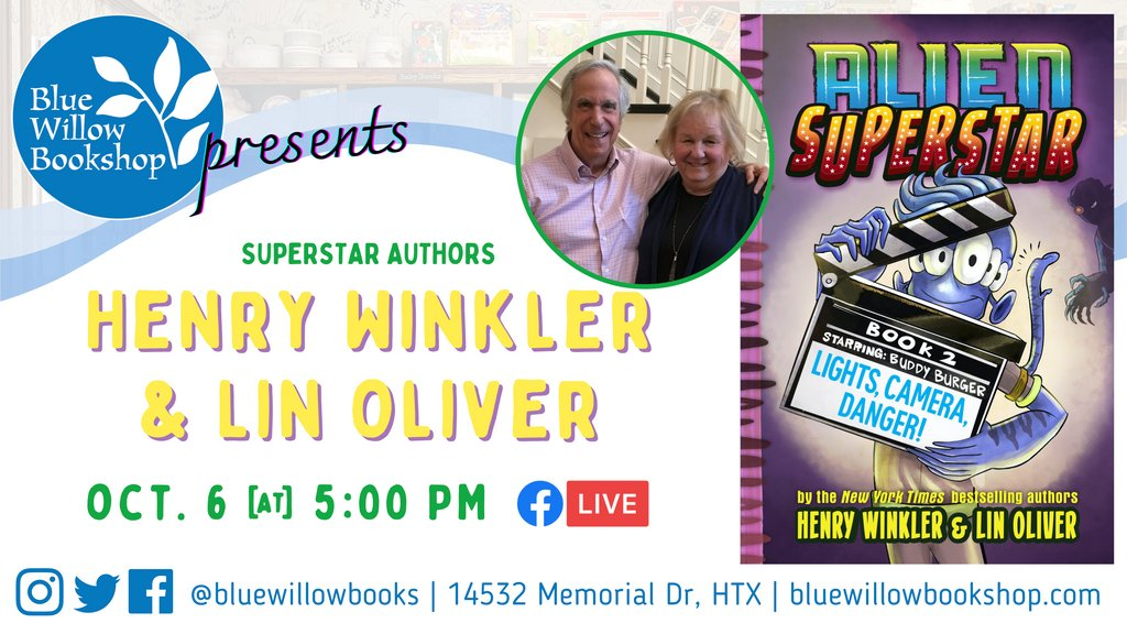We're thrilled to launch superstar authors @hwinkler4real and @linoliver's newest book: LIGHTS, CAMERA, DANGER! the latest in their bestselling #AlienSuperstar #mglit series. 👽⭐️  Get your book (complete with ✨signed bookplate!✨) here: https://t.co/TdaaVmALUm @abramskids https://t.co/L9E8ZKwcIg