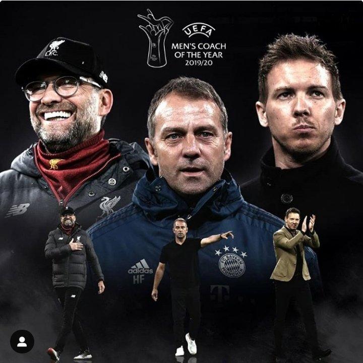 UEFA Men's Coach of the Year  Jurgen #klopp 🇩🇪 Hansi #flick 🇩🇪 Julian #nagelsmann 🇩🇪  #UEFAawards winners announced at the #UCLdraw, 1 October !  #fcbayern #mancity #championsleague #htimefootball #halftimefootball https://t.co/IWzW1kjjKr