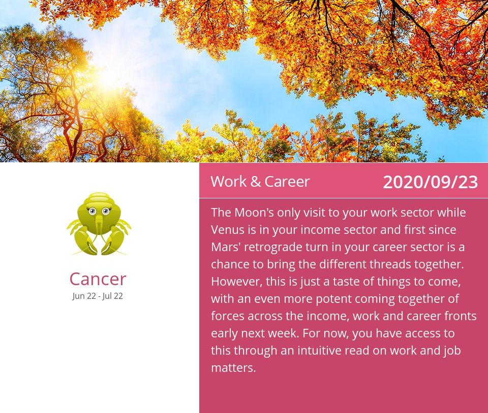 Work & Career Horoscope for Sep 23, 2020 => Read the rest at: https://t.co/ccetMfAsxl How did we do? #Cancer #CancerCareer #CancerZodiac https://t.co/HmB0F3i4Eg