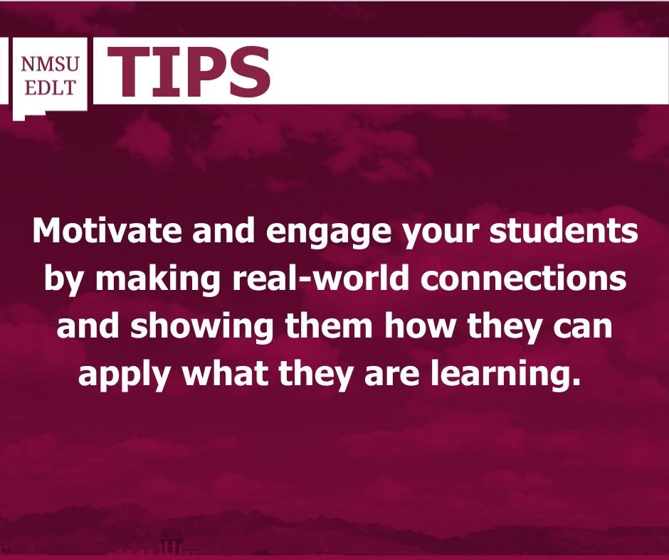 Today's #NMSUEDLT Tip showcases the benefits of making real-world connections!  Learn more about our Education and Design with Learning Technology program by clicking here: https://t.co/miETi3rV1i   #NMSUEDLT #NMSU #NewMexicoStateUniversity #Education #learning #teaching #edtech https://t.co/HkDECV9RNL