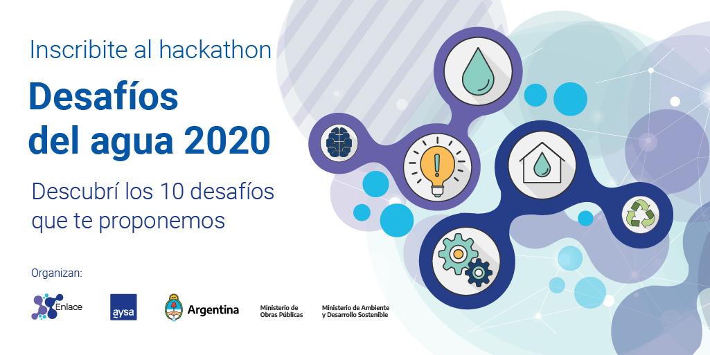 """Enlace AySA, """"Desafíos del Agua 2020"""": un encuentro científico, tecnológico, emprendedor y de la innovación, que busca construir soluciones para los principales desafíos del sector del agua y el saneamiento de Argentina. Inscribite: https://t.co/xTfmmyS60Z #DesafíoSustentable https://t.co/gVRVuiqBfz"""