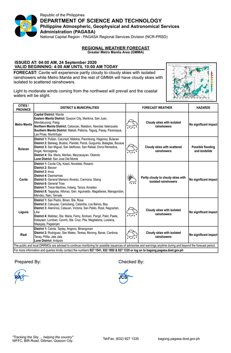 RT dost_pagasa: REGIONAL WEATHER FORECAST for GREATER METRO MANILA AREA (GMMA) #NCR_PRSD Issued at: 4:00 AM, 24 September 2020 Valid Beginning: 4:00 AM - 10:00 AM today  https://t.co/URLmLHQMVq https://t.co/R5svc2FIN8
