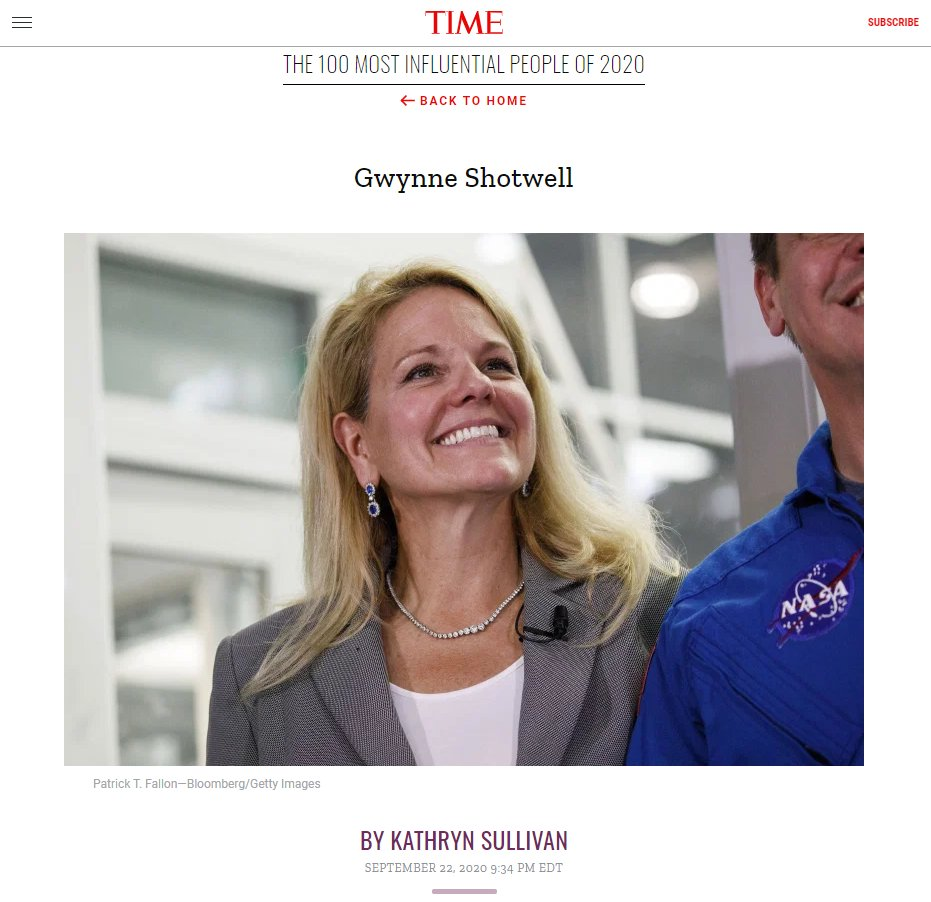 "SpaceX President & COO Gwynne Shotwell named to @TIME Magazine's ""100 Most Influential People of 2020,"" with her bio written by NASA astronaut Kathryn Sullivan: https://t.co/42oMqMMVv5 https://t.co/isOrwxiA7k"