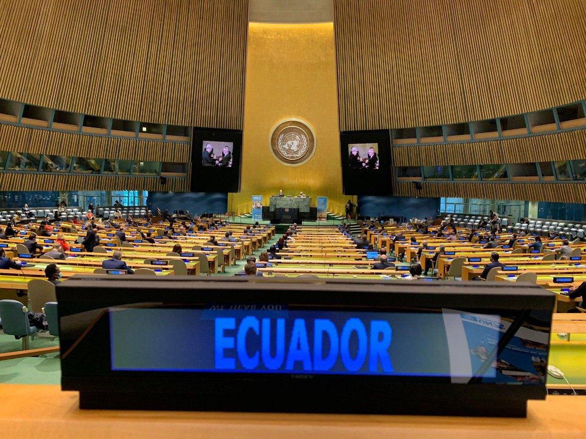 #EcuadorEnLaONU | Presidente @Lenin Moreno participó en la 75a. Asamblea General de la @ONU_es. Reafirmó el compromiso colectivo y la necesidad del multilateralismo para afrontar problemáticas comunes de las naciones, trabajando por el bienestar de los pueblos. #UNGA #UNGA75 https://t.co/Rt2AV0ZYdw