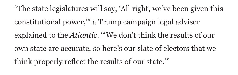 Ok. Okaaay.  I didn't want to respond to the Atlantic piece about how Trump can steal the election by flipping electors in states with GOP held legislatures, but I will.  Here's my take.  From the article⤵️ 1/ https://t.co/qtjStox3v0