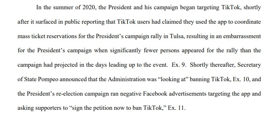 While TikTok's lawyers are not saying it outright, they sure are strongly suggesting that they think Trump's crackdown on TikTok is in retaliation for the Tulsa rally prank. https://t.co/gg9k4x96yM