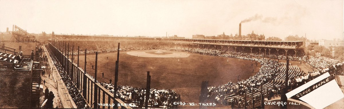 RT @TheSkimmers: 1907 World Series at Chicago's West Side Grounds. Tigers vs Cubs. Ty Cobbs 1st World Series. https://t.co/HwjScNLpOU